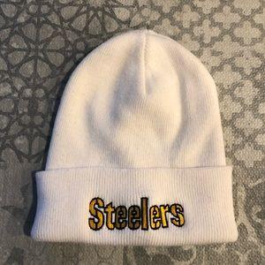Steelers NFL white toque hat beanie